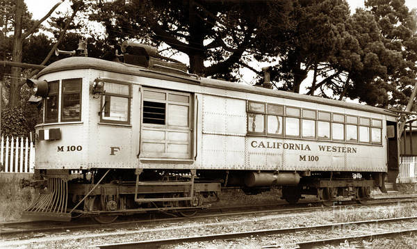 Photograph - California Western  M 100 Gas Railcar  Skunk Train  Circa 1930 by California Views Archives Mr Pat Hathaway Archives