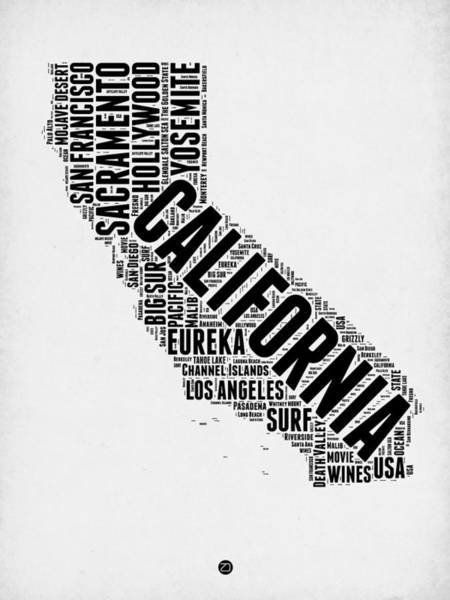 California Digital Art - California Word Cloud Map 2 by Naxart Studio