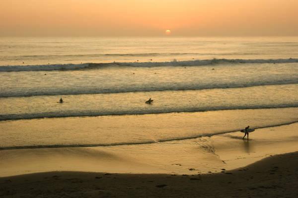 Photograph - Californian Gold - Sunset Beach Waves And Surfers - Oh So California by Georgia Mizuleva