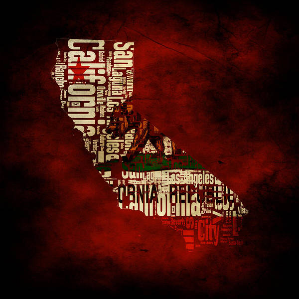 Eureka Painting - Californiatypographic Map 1c by Brian Reaves
