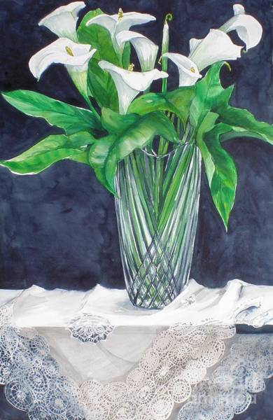 Painting - Calla Lilies And Lace by Jane Loveall