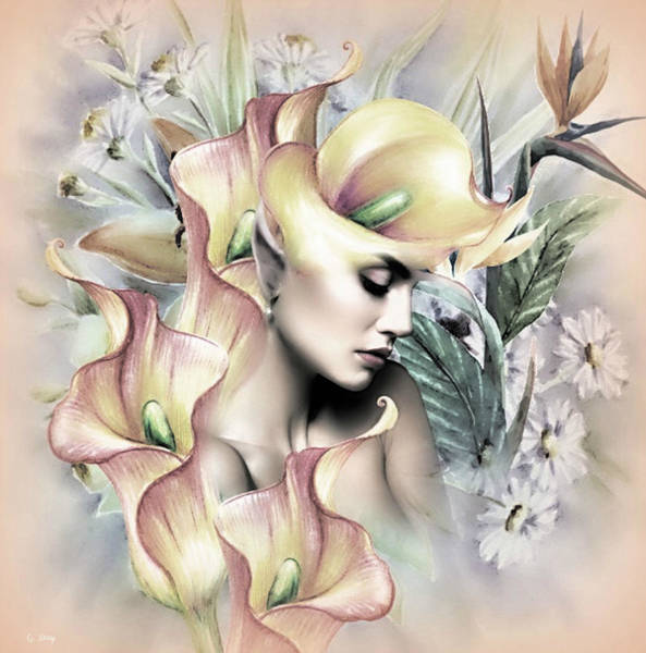 Botany Mixed Media - Calla Lily Elf 02 by G Berry