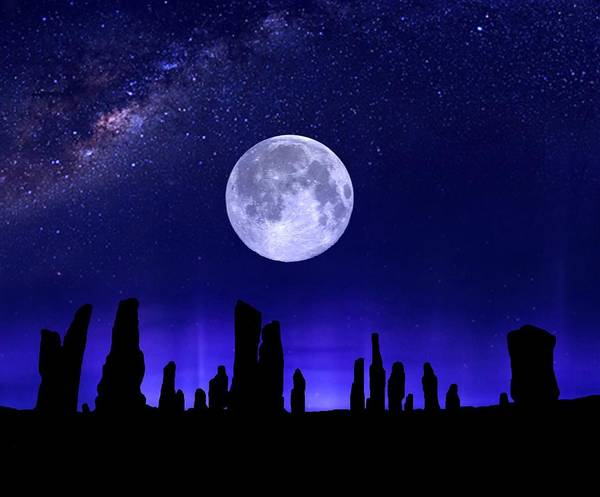 Digital Art - Callanish Stones Under The Supermoon.  by Mark Taylor