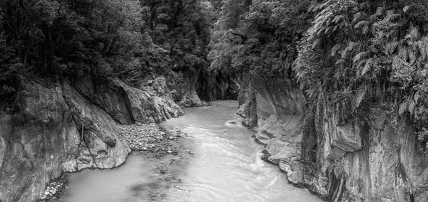 Photograph - Callery Gorge New Zealand Bw by Joan Carroll
