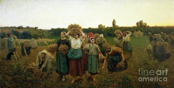Barley Painting - Calling In The Gleaners by Jules Breton