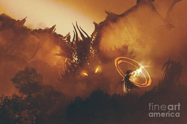 Art Print featuring the painting Calling Of The Dragon by Tithi Luadthong