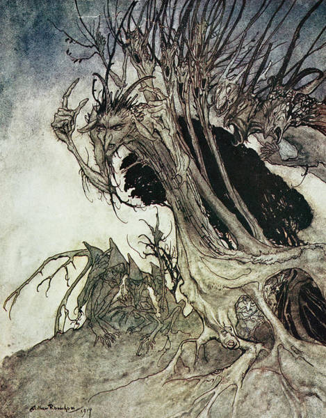 Shadows Drawing - Calling Shapes And Beckoning Shadows Dire by Arthur Rackham