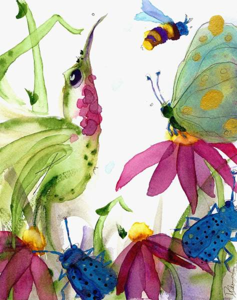 Painting - Calliope And Coneflowers by Dawn Derman