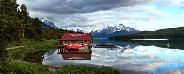 Photograph - Calm Afternoon Maligne Lake Panorama by Adam Jewell