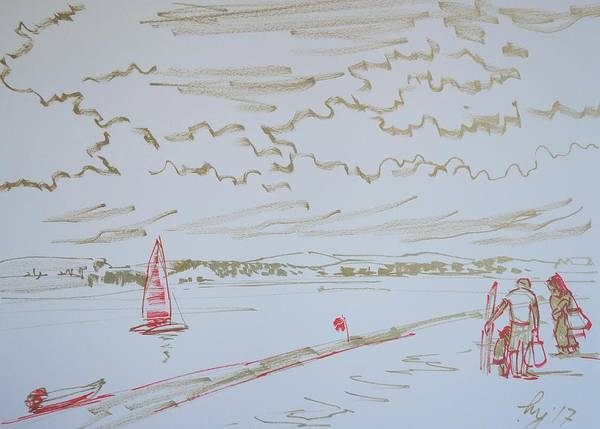 Drawing - Calm Day At Exmouth Beach Devon by Mike Jory