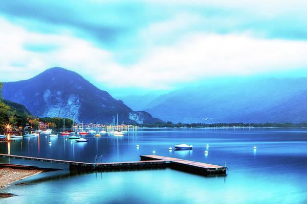 Wall Art - Photograph - Calm Lake Maggiore Italy Sunrise by Susan Schmitz