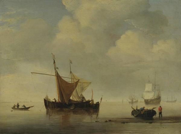 Ocean Scape Painting - Calm-two Dutch Vessels by Willem van de Velde