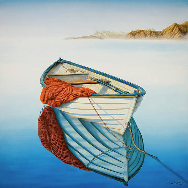 Fishing Boat Painting - Calm Waters by Horacio Cardozo