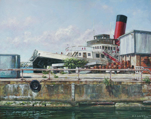 Painting - Calshot Tug Boat At Southampton Docks by Martin Davey