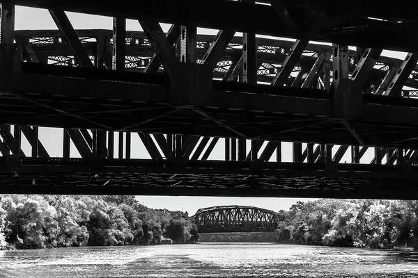 Photograph - Calumet River Bridges In Black And White  by Sven Brogren