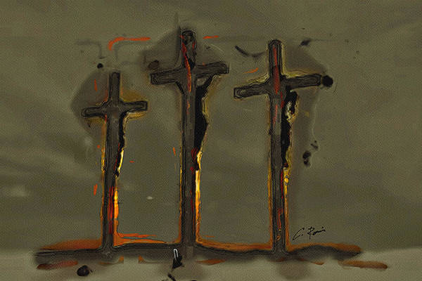 Digital Art - Calvary by Charlie Roman