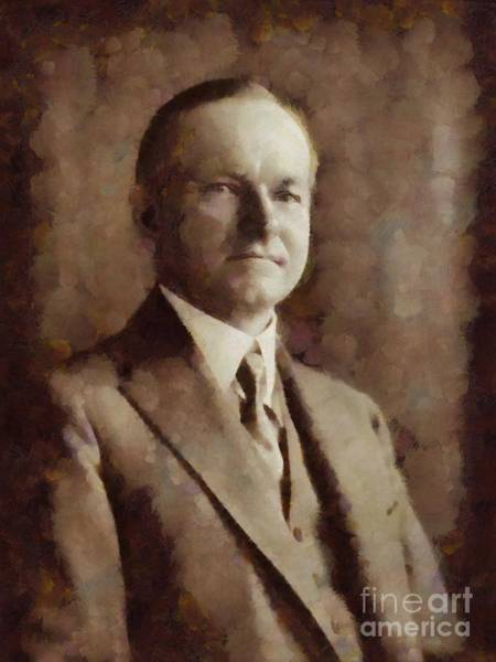 Coolidge Painting - Calvin Coolidge, President United States By Sarah Kirk by Sarah Kirk