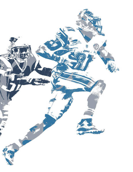 Lion Mixed Media - Calvin Johnson Detroit Lions Pixel Art 20 by Joe Hamilton