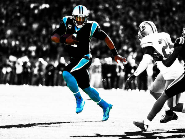 Aaron Rodgers Mixed Media - Cam Newton Out The Pocket by Brian Reaves