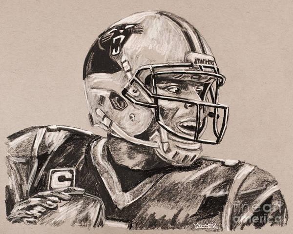 Super Bowl Drawing - Cam Newton Portrait by Robert Yaeger