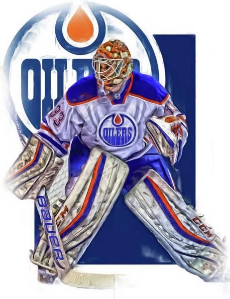 Wall Art - Mixed Media - Cam Talbot Edmonton Oilers Oil Art by Joe Hamilton