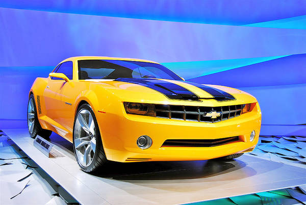 Detroit Auto Show Photograph - Camaro Bumble Bee 0993 by Michael Peychich