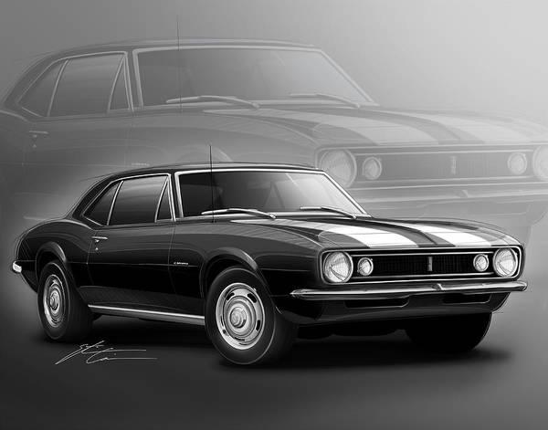 Camaro Wall Art - Digital Art - Camaro Z28 1967 by Etienne Carignan