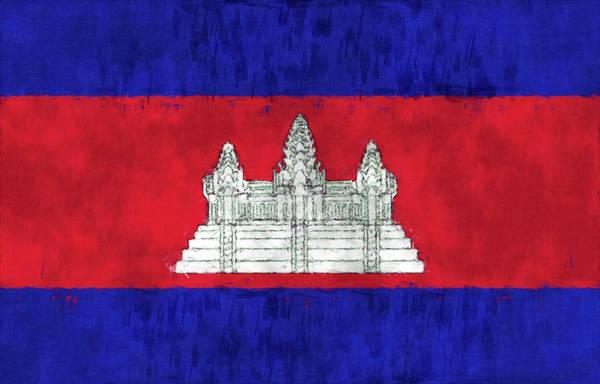 Wall Art - Digital Art - Cambodia Flag by World Art Prints And Designs