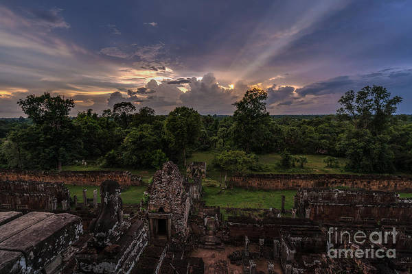 Angkor Wall Art - Photograph - Cambodia Temple Ruins Sunset by Mike Reid