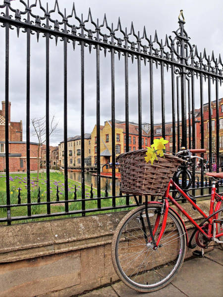 Photograph - Cambridge In Spring With Bicycle Vertical by Gill Billington