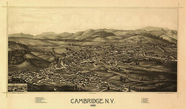 New York City Map Drawing - Cambridge, N.y. by Chapin