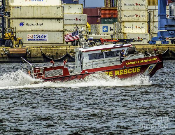 Photograph - Camden City Fire Rescue Boat by Nick Zelinsky