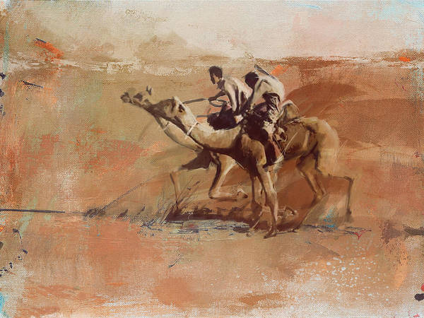 Camel Rider Painting - Camels And Desert 11 by Mahnoor shah