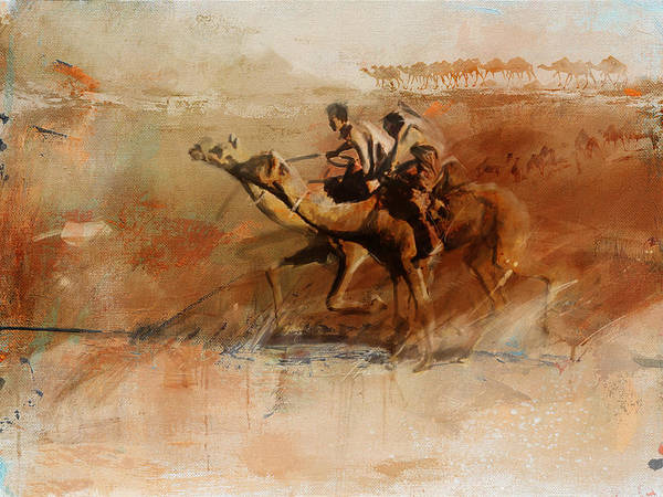 Camel Rider Painting - Camels And Desert 11b by Mahnoor Shah