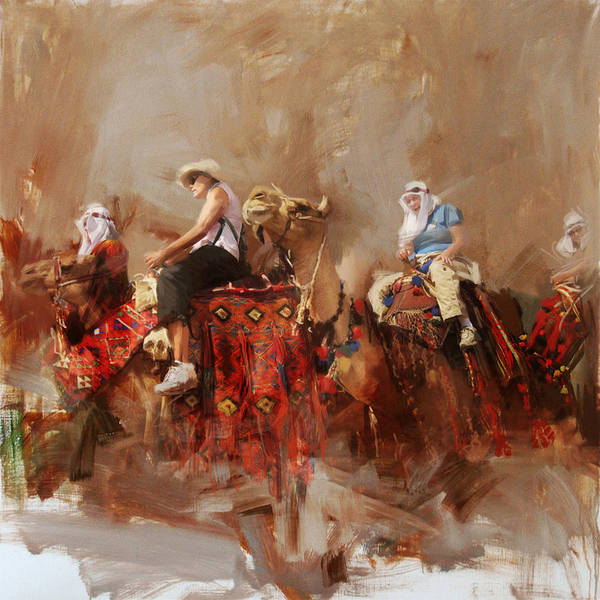 Camel Rider Painting - Camels And Desert 14 by Mahnoor Shah