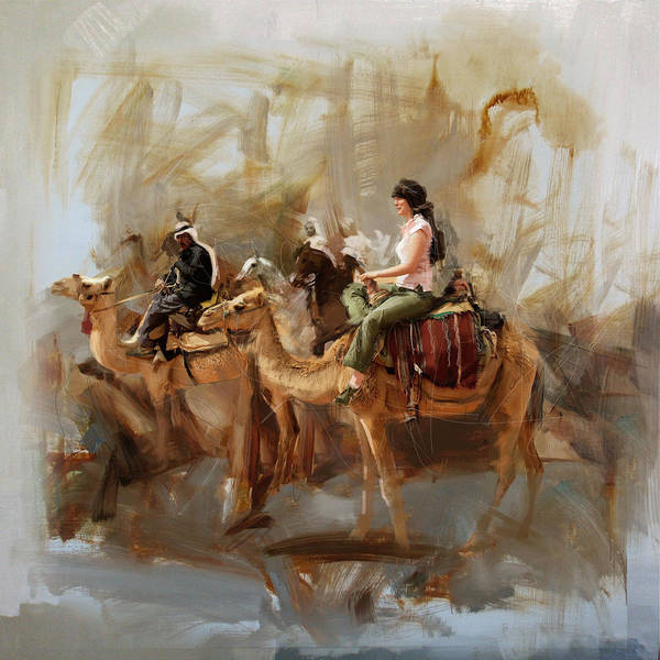 Camel Rider Painting - Camels And Desert 16 by Mahnoor Shah