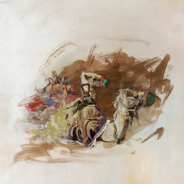 Camel Rider Painting - Camels And Desert 17 by Mahnoor Shah