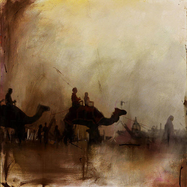 Camel Rider Painting - Camels And Desert 18 by Mahnoor Shah