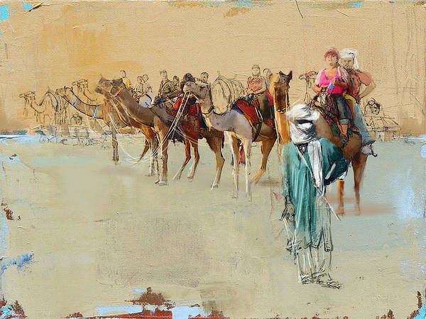 Camel Rider Painting - Camels And Desert 2 by Mahnoor Shah
