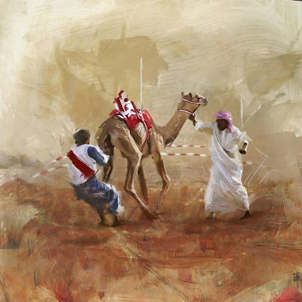 Camel Rider Painting - Camels And Desert 20 by Mahnoor Shah