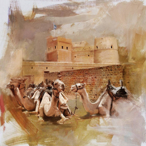 Camel Rider Painting - Camels And Desert 24 by Mahnoor Shah