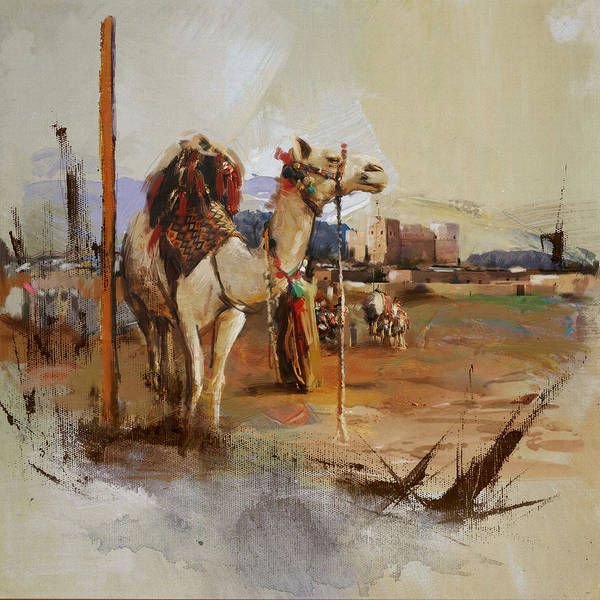 Camel Rider Painting - Camels And Desert 25 by Mahnoor Shah