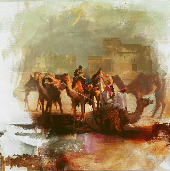 Camel Rider Painting - Camels And Desert 26 by Mahnoor Shah