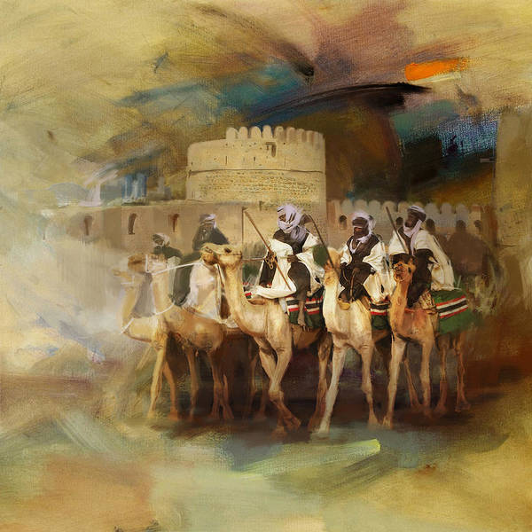 Camel Rider Painting - Camels And Desert 34 by Mahnoor Shah
