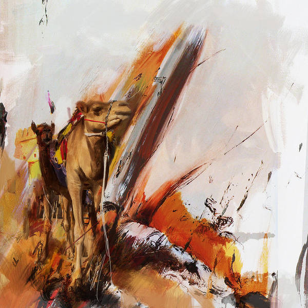 Camel Rider Painting - Camels And Desert 36 by Mahnoor Shah