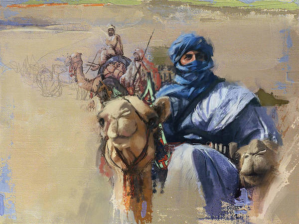 Wall Art - Painting - Camels And Desert 4 by Mahnoor Shah