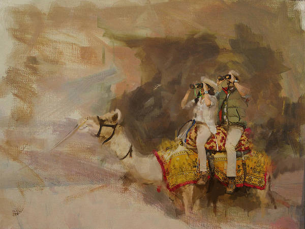 Camel Rider Painting - Camels And Desert 9  by Mahnoor Shah