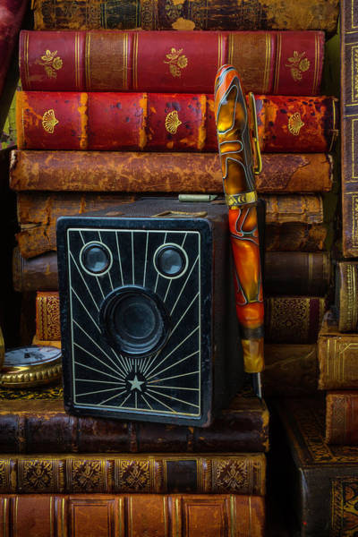 Photograph - Camera And Old Books by Garry Gay