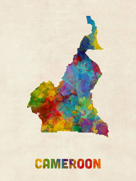 Digital Art - Cameroon Watercolor Map by Michael Tompsett