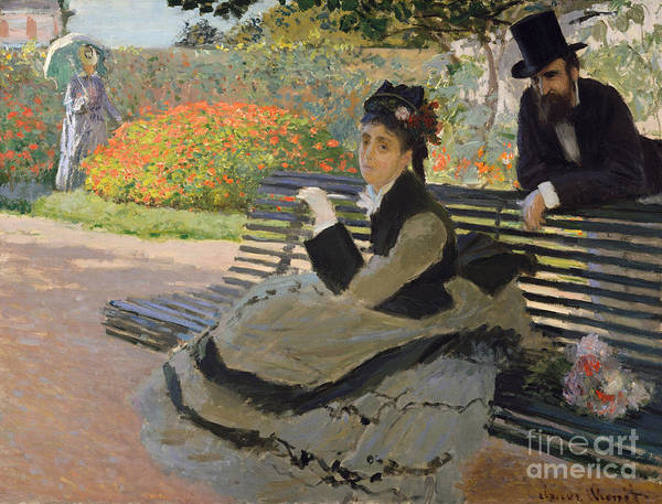 Victorian Era Painting - Camille Monet On A Garden Bench, 1873 by Claude Monet